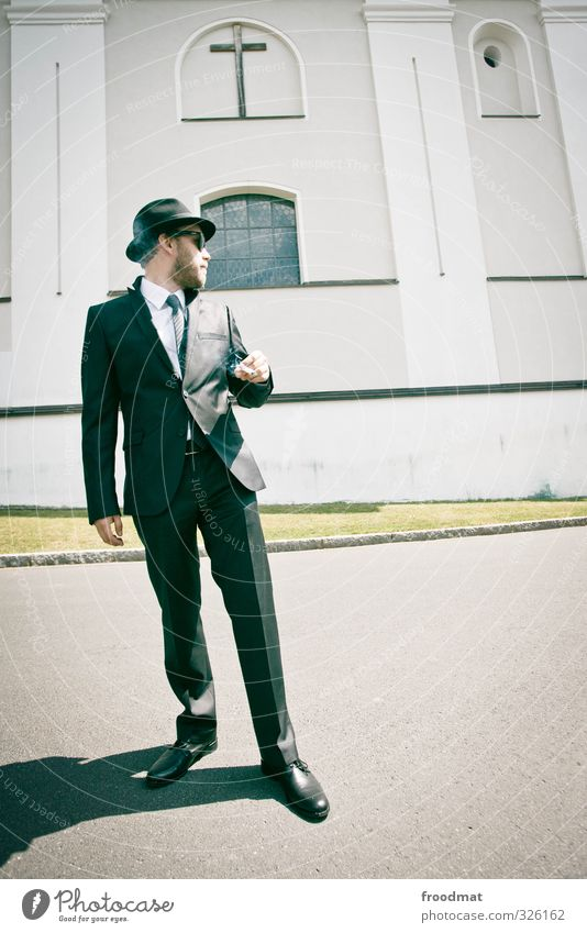 serious business Human being Masculine Young man Youth (Young adults) Man Adults 1 Church Shirt Suit Tie Hat Designer stubble Beard Smoking Stand Cool (slang)
