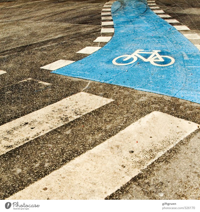 Blue Street Movement Lanes & trails Going Transport Bicycle Signs and labeling Wait Safety Cycling Driving Symbols and metaphors Tracks Asphalt Traffic infrastructure