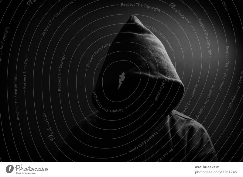 dark figure - hood without face Human being Masculine Woman Adults Man 1 Sweater Hooded (clothing) Exceptional Threat Dark Black Identity Hooded sweater