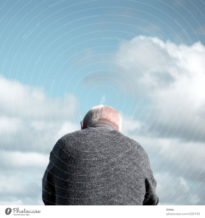 Human being Sky Man Relaxation Calm Clouds Adults Life Senior citizen Hair and hairstyles Masculine Body 60 years and older Authentic Clothing Beautiful weather