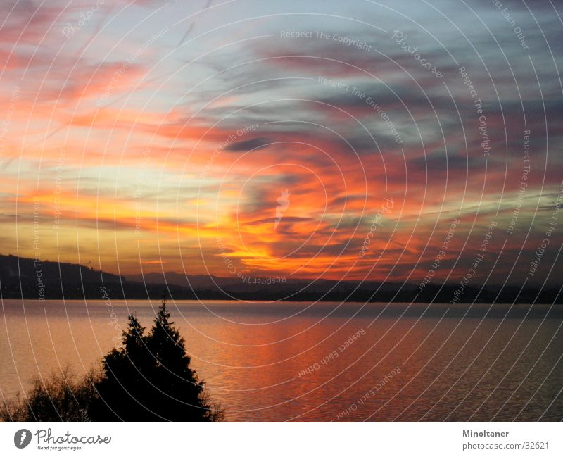 Water Sky Sun Clouds Mountain Lake Landscape