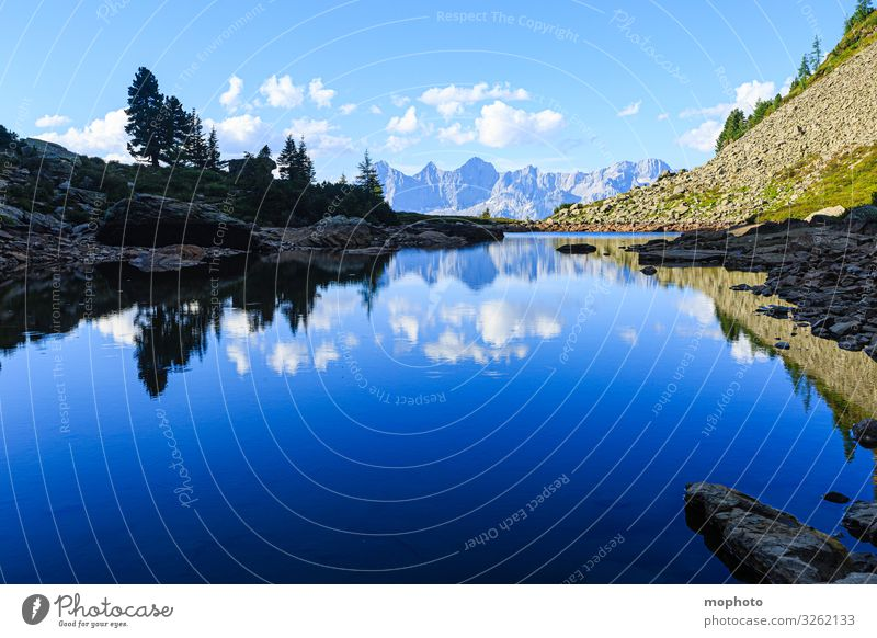 Mirror, mirror... Vacation & Travel Tourism Trip Mountain Hiking Nature Landscape Water Sky Clouds Alps Lake Blue Gray Green Loneliness Adventure Uniqueness