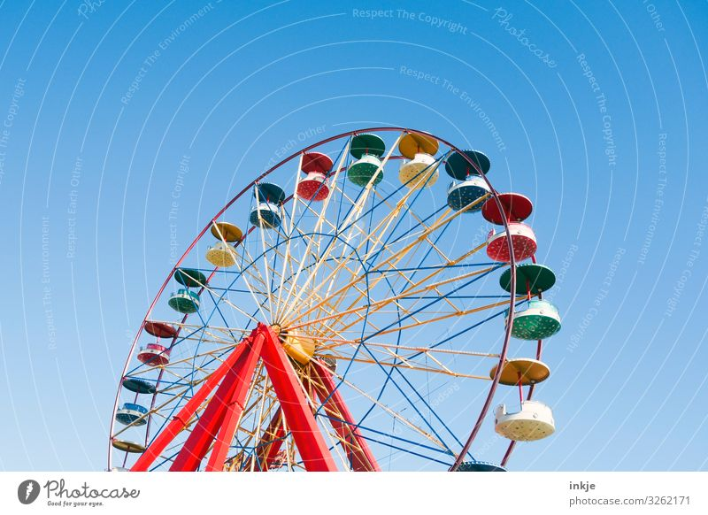 mado in colourful Joy Entertainment Party Event Oktoberfest Fairs & Carnivals Cloudless sky Summer Beautiful weather Ferris wheel Large Blue Multicoloured