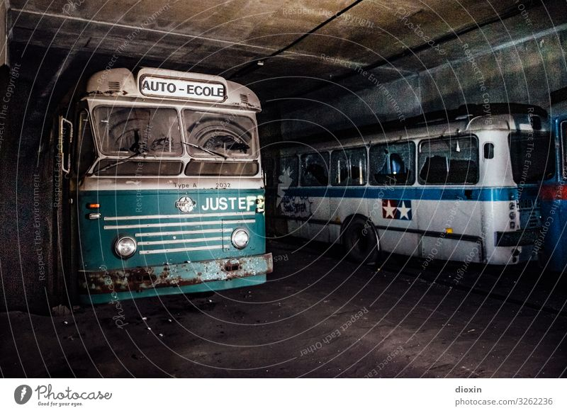 the tunnel | bus station Adventure Transport Means of transport Passenger traffic Public transit Road traffic Bus travel Tunnel Vintage car Old Authentic Retro