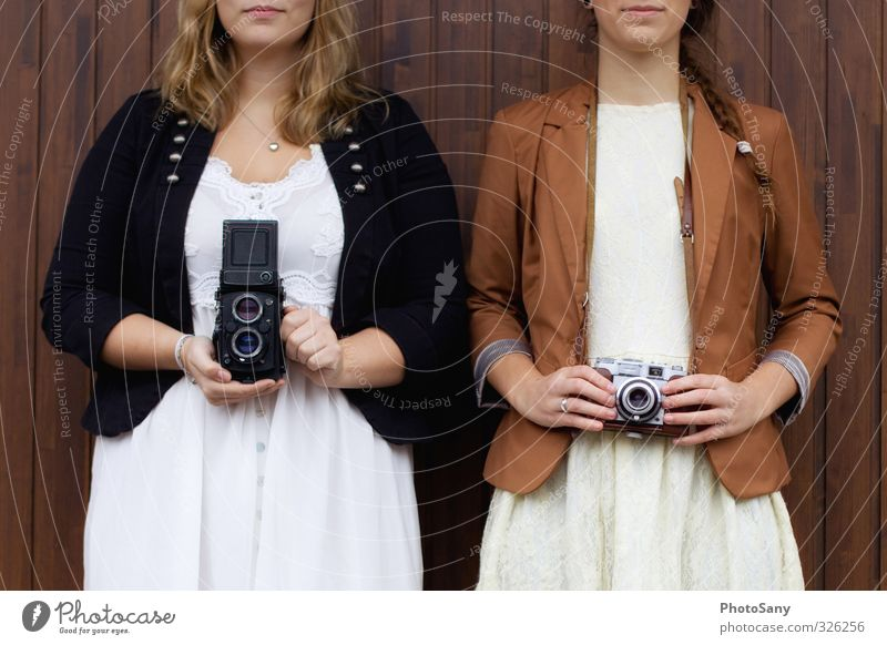 Human being Youth (Young adults) Young woman Black Feminine Brown Together Authentic Retro Uniqueness Camera Hip & trendy