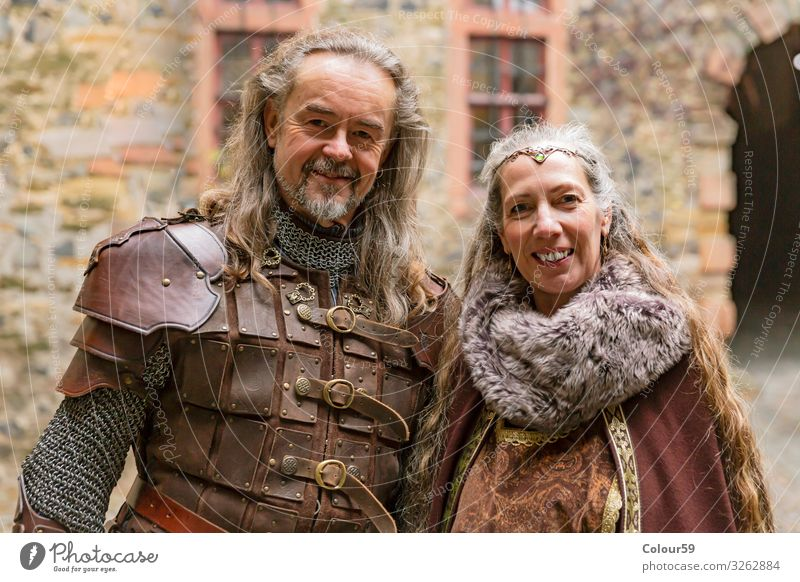 Medieval couple in robes Elegant Human being Woman Adults Ornament Retro Tradition Couple attired Medieval times portrait Knight Aristocracy aristocrats