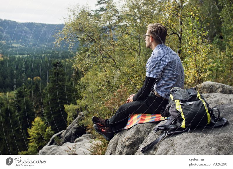 Enjoy the view Harmonious Relaxation Vacation & Travel Tourism Trip Adventure Far-off places Freedom Hiking Human being Young man Youth (Young adults) Life