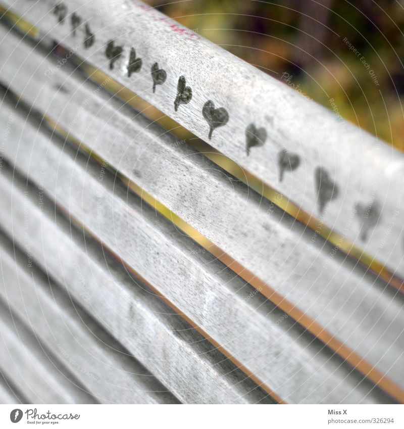 Loved Sign Draw Emotions Moody Infatuation Romance Painting (action, artwork) Heart Border Wooden board Park bench Daub Colour photo Subdued colour