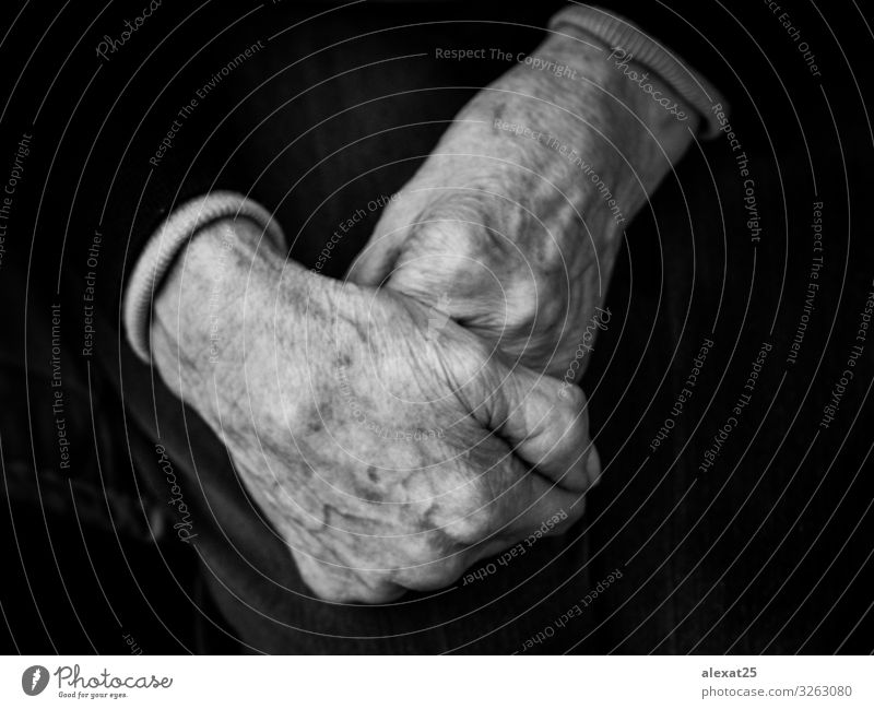 Foreground of hands of old woman Skin Human being Woman Adults Grandfather Grandmother Arm Hand Old Loneliness Age aged care antiquity arthritis caducity close
