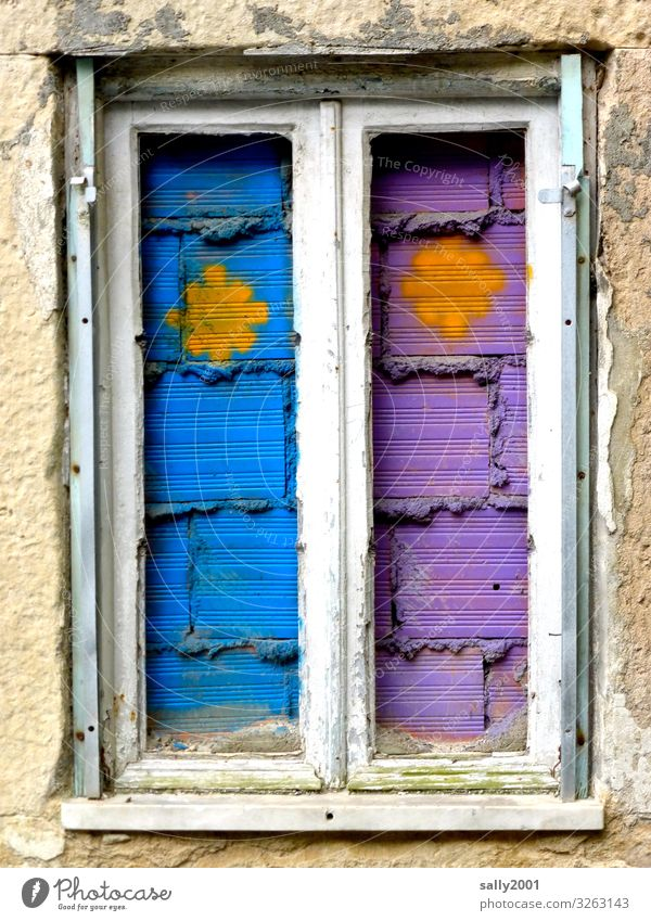 bricked up, but colorful... Window Wall (barrier) too Closed Barricaded Old purple Violet Blue symbol Building stone Window frame Gloomy Graffiti
