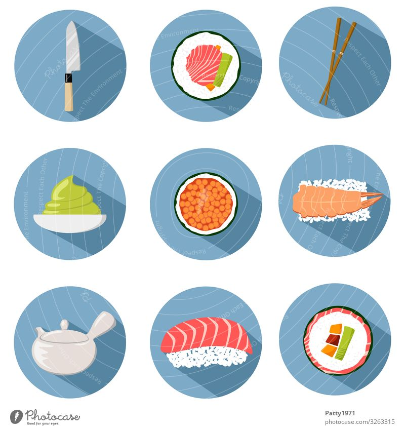 Sushi and asian cooking Flat Design Icons Food Meat Fish Seafood Nutrition Finger food Asian Food Lifestyle Delicious Round Tourism Tradition Illustration