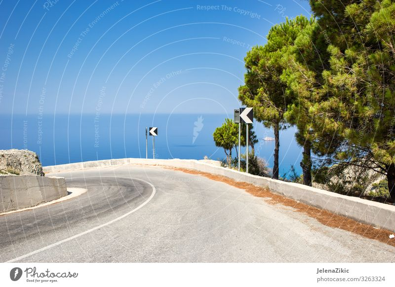 Road with amazing view Vacation & Travel Nature Summer Blue Beautiful Green Landscape Tree Ocean Relaxation Street Coast Tourism Rock Trip Horizon