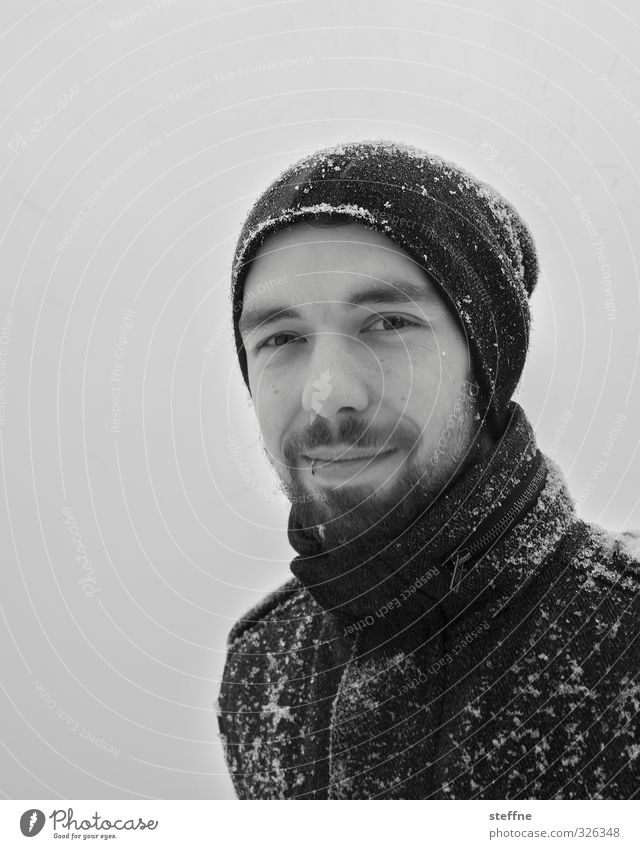 Cold out there Masculine 1 Human being Snow Winter Winter walk Facial hair Cap Piercing Black & white photo