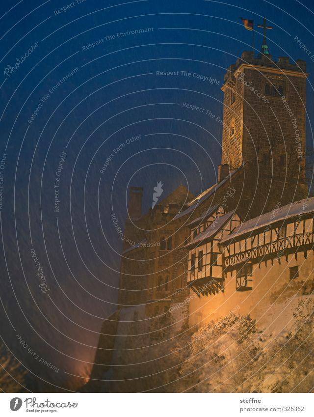 Winter Cold Snow Snowfall Tower Castle Half-timbered facade Wartburg castle