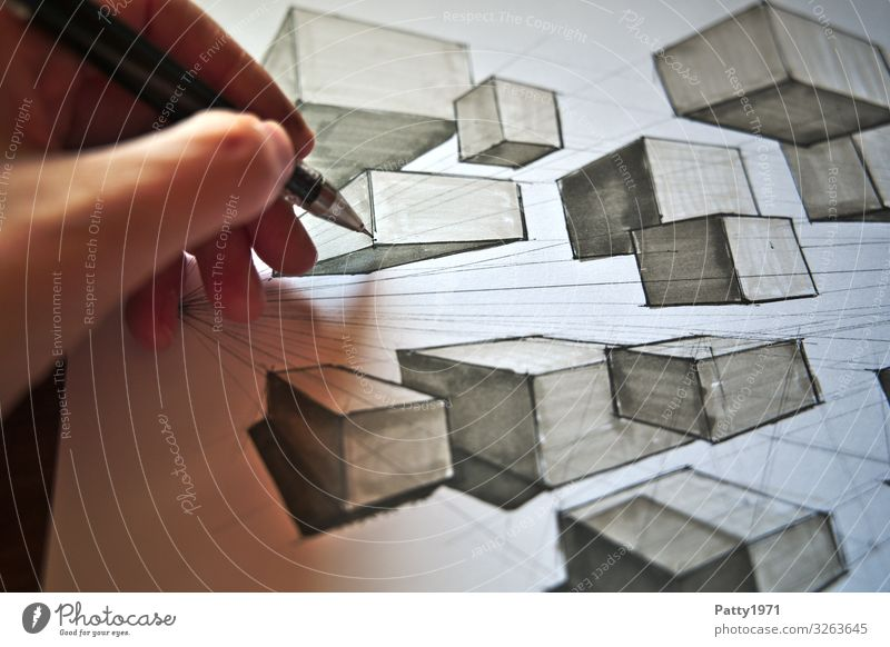 Two Point Perspective Study Technology Industry Human being Hand Fingers 1 Art Artist Painter Drawing Movement Competent Complex Symmetry Colour photo Close-up