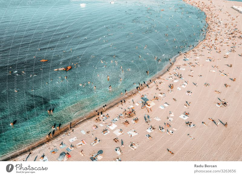 People Crowd On Beach, Aerial View In Summer Human being Vacation & Travel Nature Blue Landscape Ocean Far-off places Lifestyle Warmth Environment Coast Tourism