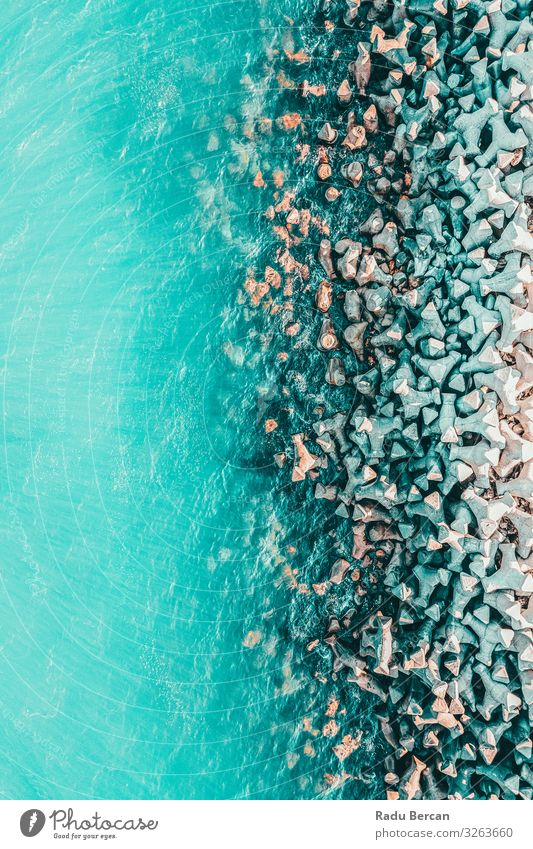 Aerial View Of Concrete Pier On Water At Sea Vacation & Travel Nature Summer Blue Colour Beautiful Landscape Ocean Far-off places Beach Warmth Environment Coast