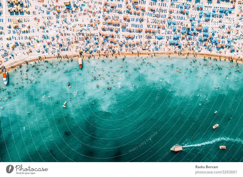 People Crowd On Beach, Aerial View In Summer Human being Vacation & Travel Nature Blue Water Landscape Sun Ocean Warmth Environment Coast Tourism Freedom
