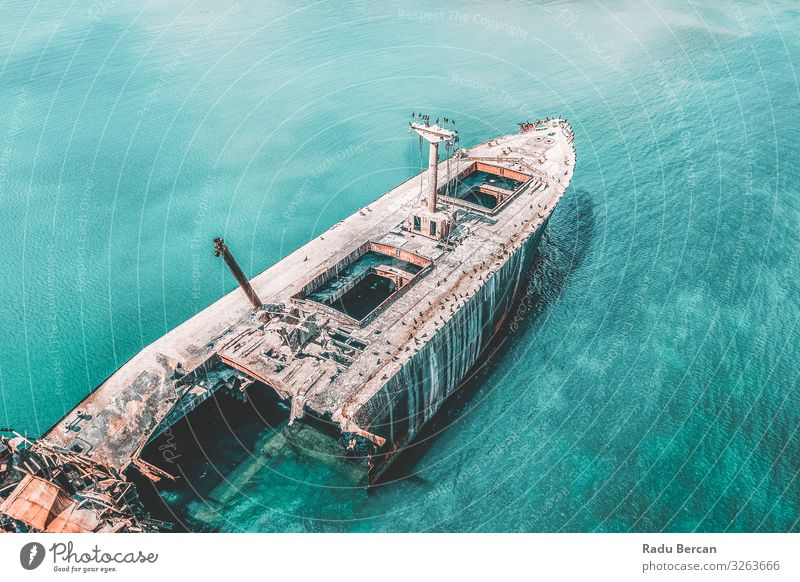 Aerial View Of Old Shipwreck Ghost Ship Environment Nature Landscape Water Summer Beautiful weather Waves Coast Ocean Transport Vehicle Navigation Cruise
