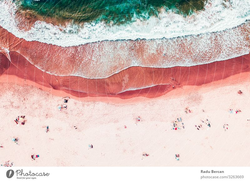 People Crowd On Beach, Aerial View In Summer Human being Vacation & Travel Nature Blue Colour Water White Landscape Ocean Warmth Environment Coast Orange