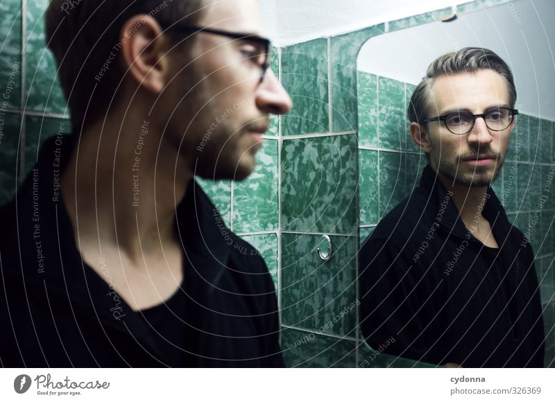 Mirror image in the green bathroom Lifestyle Elegant Beautiful Room Bathroom Human being Young man Youth (Young adults) 18 - 30 years Adults Sweater Eyeglasses