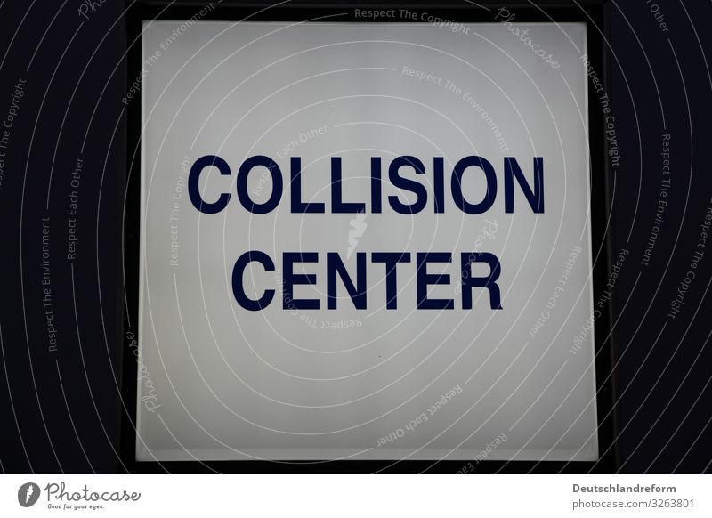 collision center Auto repair shop Passenger traffic Motoring Neon sign Advertising Dark Sharp-edged Cold Blue Black White Accident Damage Colour photo