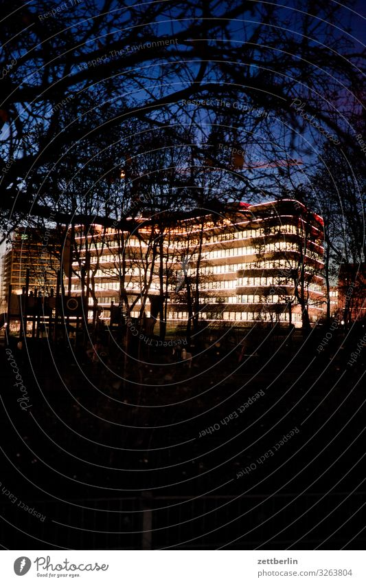 EUREF campus at night Evening Facade Window House (Residential Structure) Sky Heaven Downtown Light Lighting Story Visual spectacle Deserted Night Town