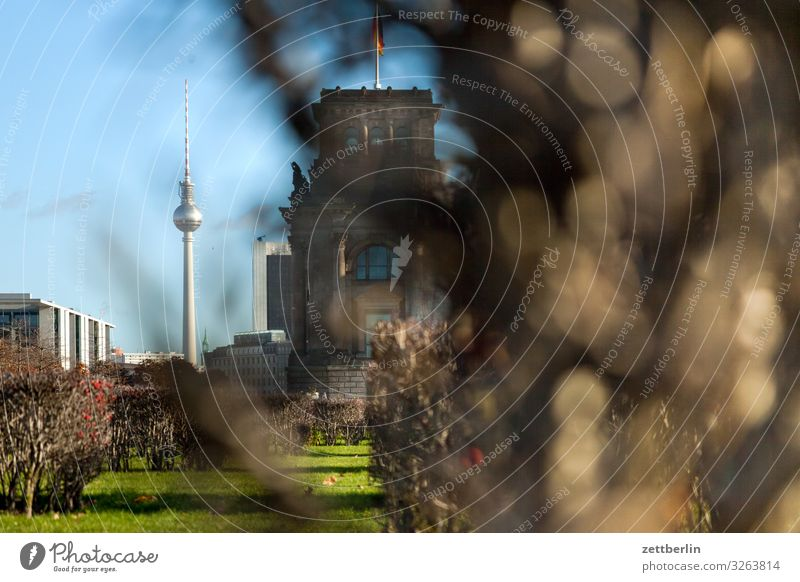 Television tower with text free space Architecture Berlin Reichstag Germany Capital city Parliament Government Seat of government Government Palace Spree