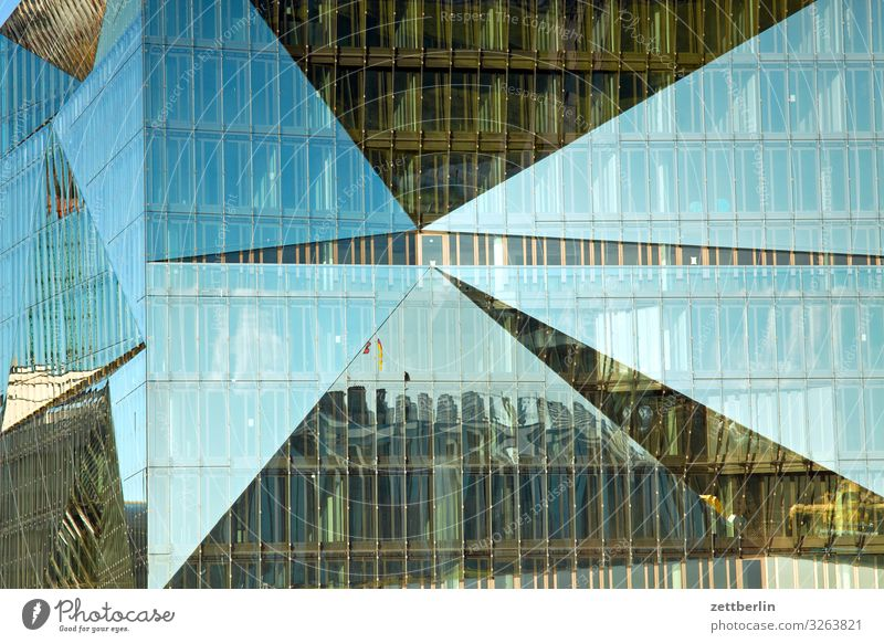 Cube Berlin Architecture Facade Glass Glas facade New building Modern Reflection Mirror image facet Capital city Seat of government Spreebogen