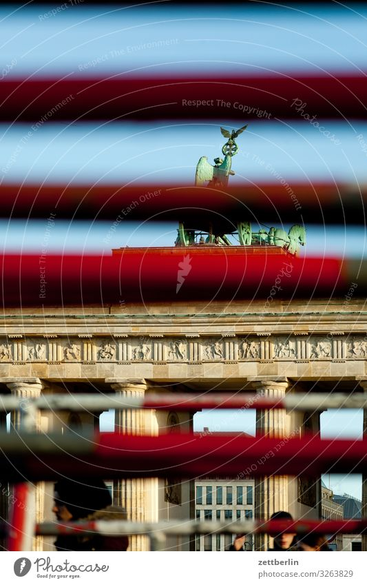 Brandenburg Gate (concealed) Berlin City Capital city Downtown Portal Town Tourism Landmark Pariser Platz Fence Joist Rod Hide Concealed Camouflage