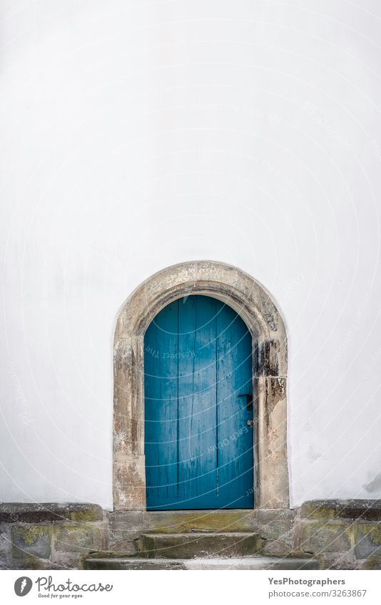 Arched wooden door. Old blue door and a white wall. Just a door Building Architecture Wall (barrier) Wall (building) Facade Door Retro Tradition Germany Ancient