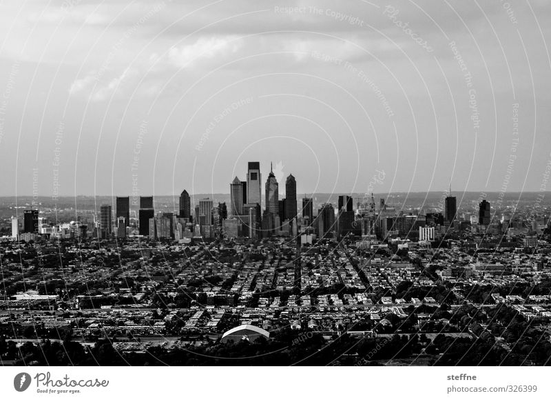 Streets of Philadelphia USA Town Downtown Skyline High-rise Tall Black & white photo Copy Space top Bird's-eye view Panorama (View)