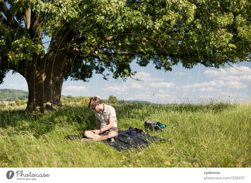 Human being Nature Youth (Young adults) Vacation & Travel Summer Tree Relaxation Landscape Calm Adults Young man Meadow Life 18 - 30 years Spring Freedom