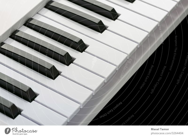 Black and white keys of a music keyboard Style Harmonious Leisure and hobbies Playing Entertainment Music Technology Art Concert Musician Piano White audio