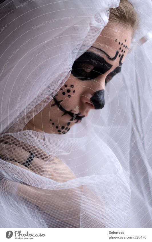 . Carnival Hallowe'en Human being Feminine Woman Adults Face Hand Fingers 1 Cloth Sadness Grief Dress up Costume Wearing makeup Painted Death Death's head