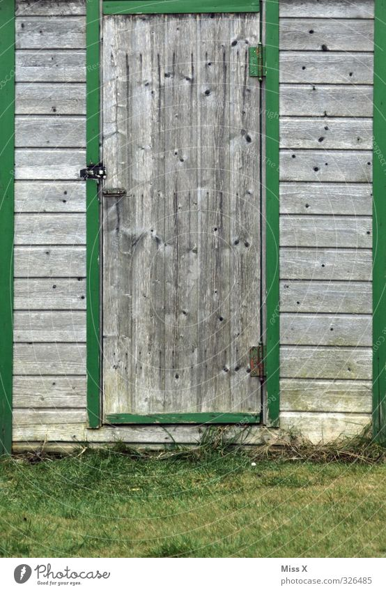 Door V Living or residing Flat (apartment) Garden Meadow Hut Old Wooden door Barn Gardenhouse Closed Colour photo Exterior shot Pattern Structures and shapes