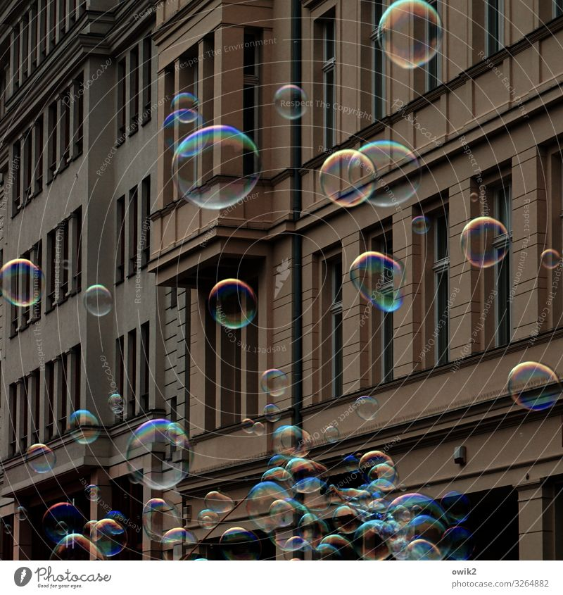 house cleaning Town Populated Wall (barrier) Wall (building) Facade Window Soap bubble Movement Fantastic Happiness Together Gigantic Glittering Round Many