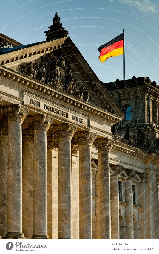Reichstag with German flag Architecture Berlin Germany German Flag Capital city Downtown Parliament Government Seat of government Government Palace Spree