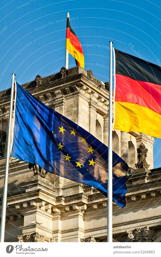 Flags in front of the Reichstag Architecture Berlin Germany German Flag Capital city Downtown Parliament Government Seat of government Government Palace Spree