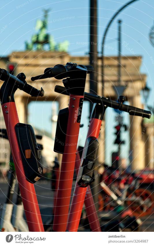 E-scooters at the Brandenburg Gate Berlin City Capital city Downtown Portal Town Tourism Landmark Coil Scooter Passenger traffic Movement