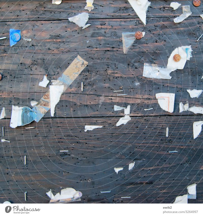 outtakes Paper Scrap Remainder Snippets Thumbtack Bulletin board Information Wood Metal Rust Old Trashy Gloomy Decline Past Destruction Staple Hollow Abrasion