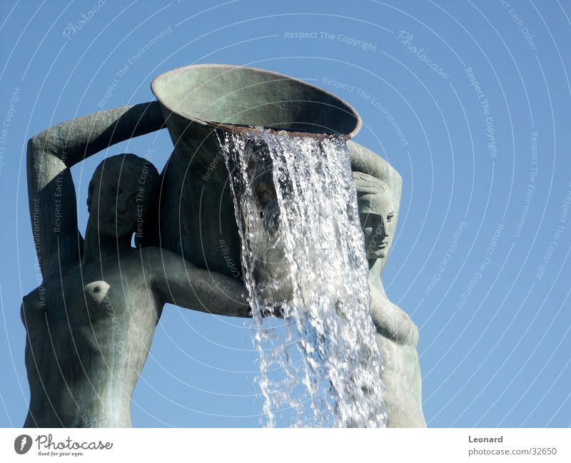 Fountain 2 Sculpture Woman Craft (trade) Waterfall Silhouette water jet