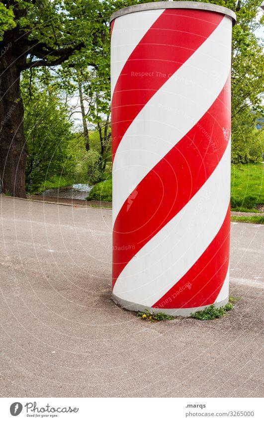 advertising pillar Advertising Industry Nature Advertising column Stripe Red White Advice Colour Communicate Information Colour photo Exterior shot Pattern