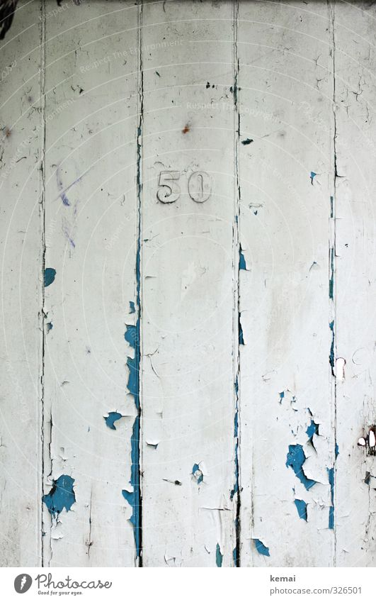 Fifty Door Wood Sign Digits and numbers Old Authentic Broken Blue White 50 House number Derelict Crack & Rip & Tear Jubilee Colour photo Subdued colour