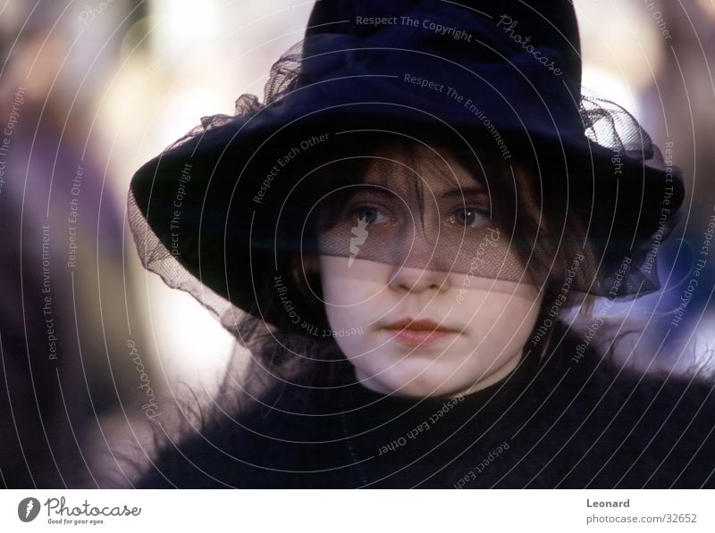 carnival Woman Girl Black Vail Eyes Hat