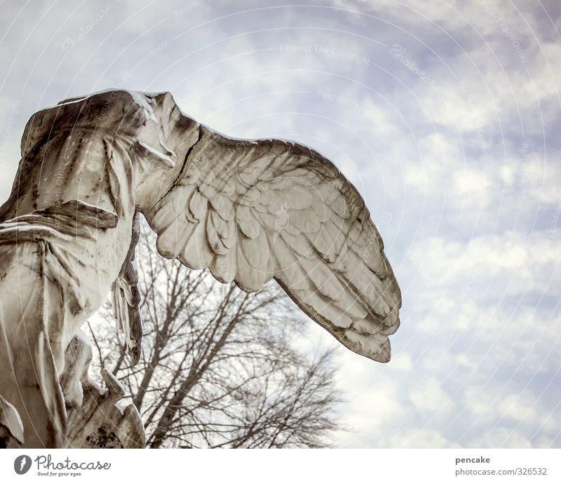   Risk 400. Art Sculpture Culture Elements Sky Clouds Decoration Stone Sign Angel Lock Famousness Cold Broken Strong Feminine Esthetic Stress Peace Threat Idea