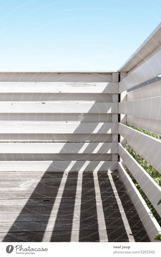 Shadow graphics Vacation & Travel Spring Summer Denmark Vacation home Balcony Terrace Wood Stripe Esthetic Friendliness Blue White Spring fever Optimism