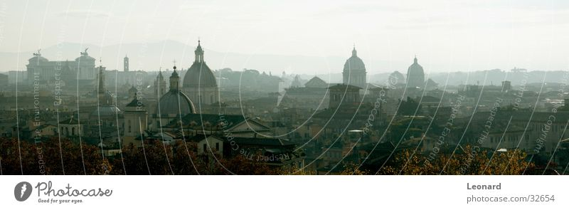 Domes of Rome (Panorama) Town House (Residential Structure) Roof Fog Tree Autumn Monument Sculpture Italy Europe Religion and faith Lessons Back Mountain