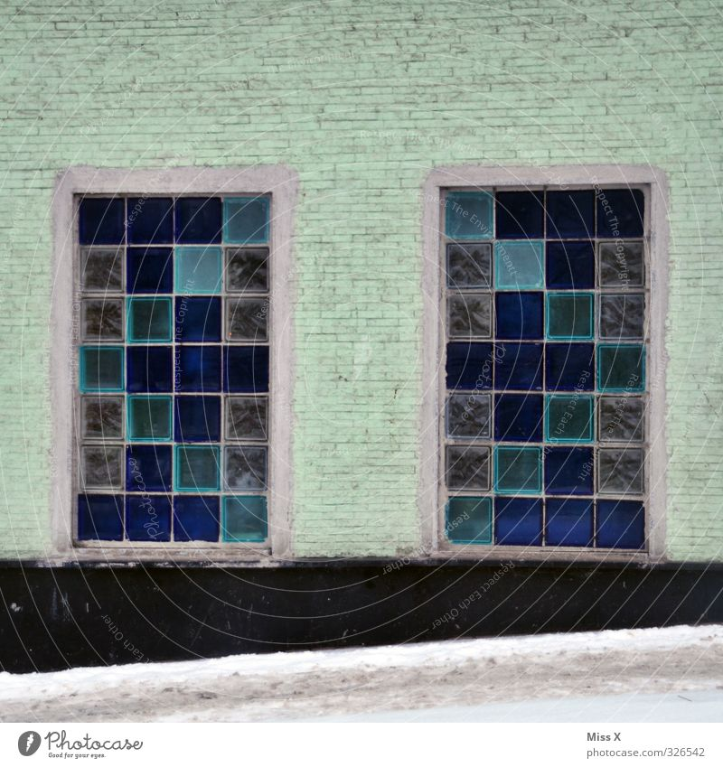 Window V Living or residing Flat (apartment) Blue Glass block Window pane Colour photo Exterior shot Pattern Deserted