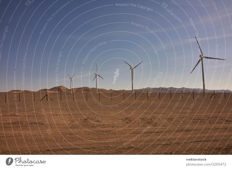 Wind Turbines in the Atacama Desert, Chile Mountain Technology Renewable energy Wind energy plant Nature Landscape Sand Sky Horizon Hill Energy desert Windmill